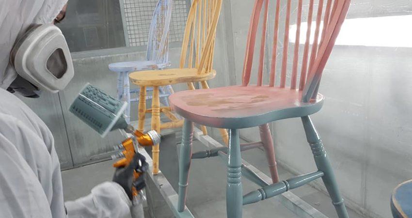 Spuitwerk stoelen Petrol